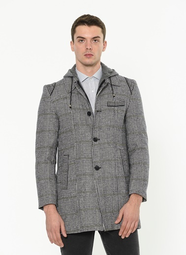 Dewberry 1020001P8335 Kapüşonlu Klasik Yün Palto Gri